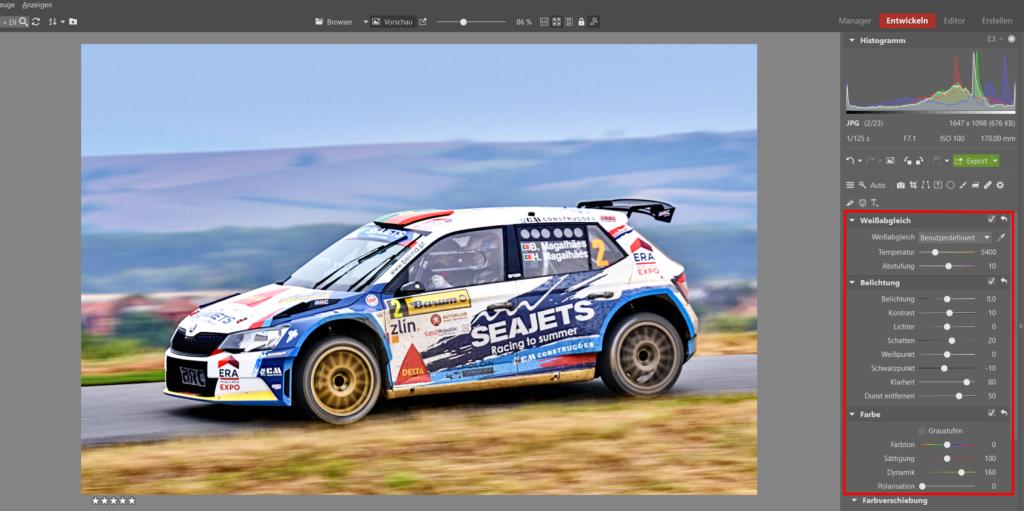 Bearbeiten von Bildern von Motorsport-Rennen -