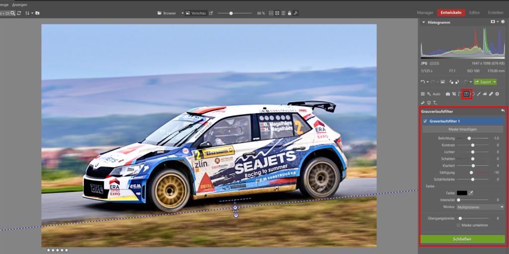 Bearbeiten von Bildern von Motorsport-Rennen