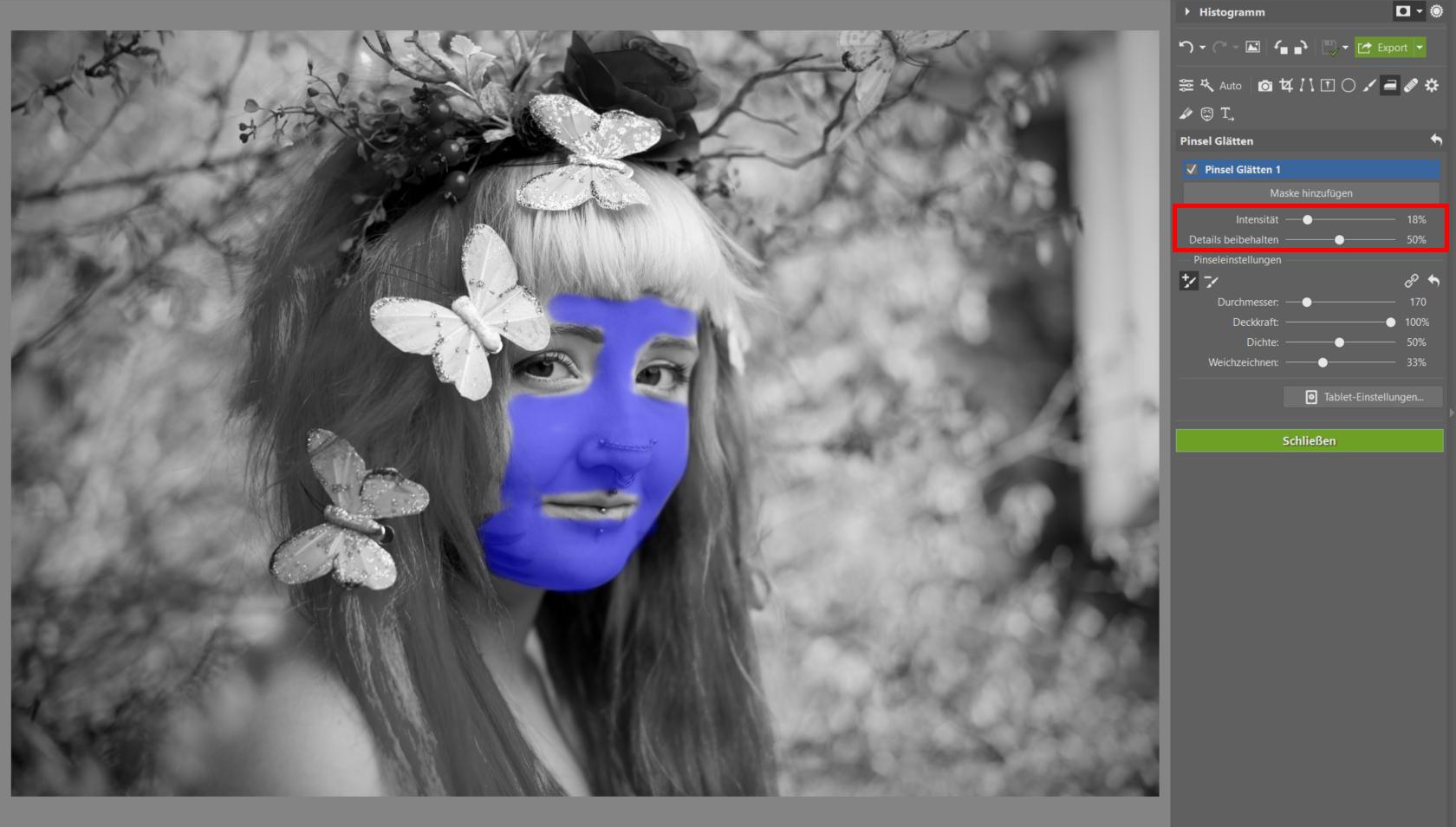 Bildbearbeitung eines Frühlingsporträts I: Modul Entwickeln