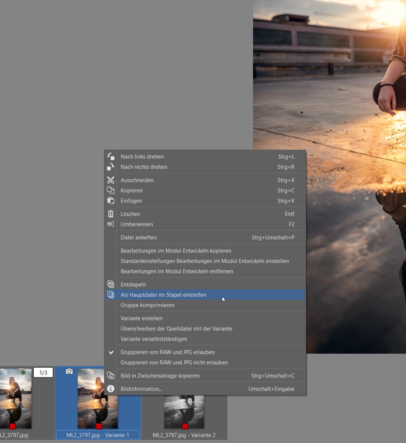 Varianten: Erstellen Sie verschiedene Bearbeitungsversionen eines Fotos