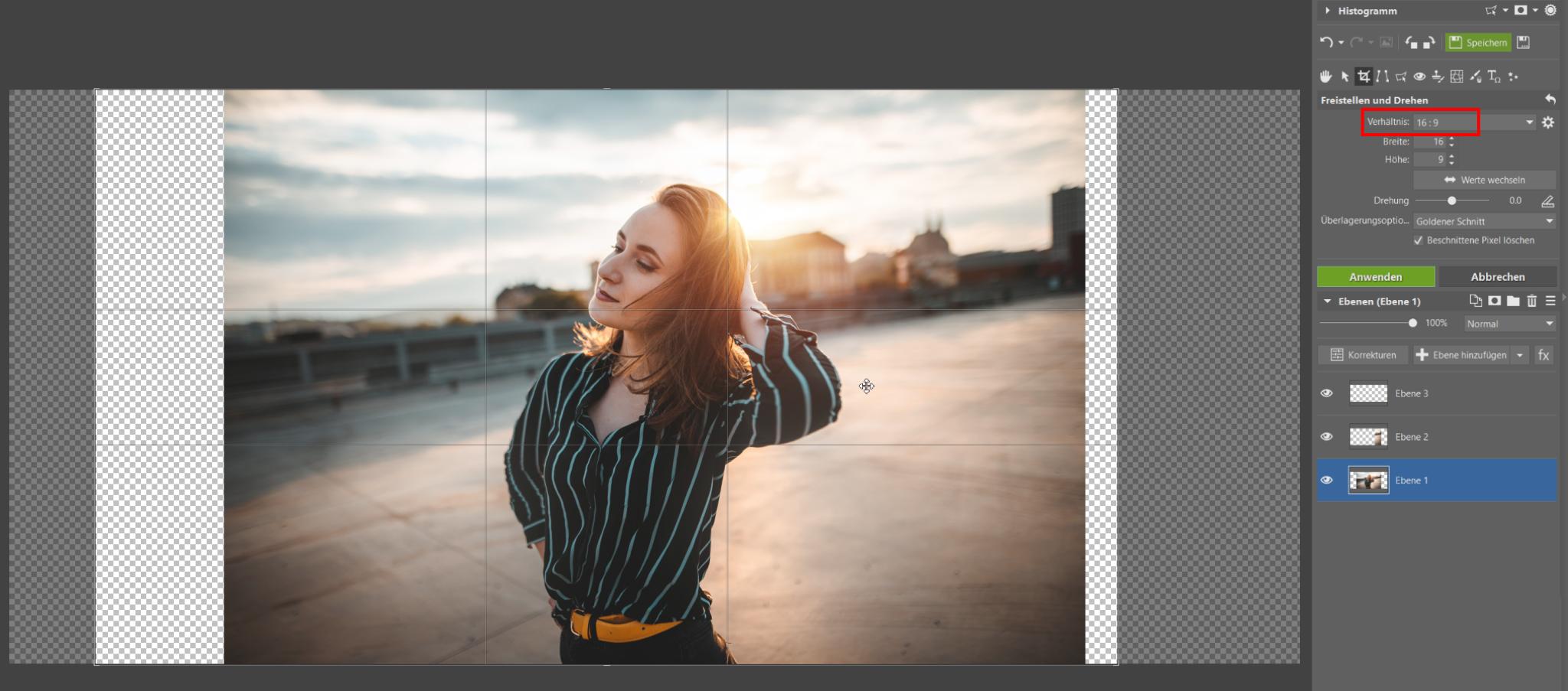 Erweitern Sie Ihr Foto ins Breitformat. Im Editor ist dies ohne Zuschnitt und Verluste möglich